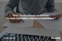 What are the differences between the work instruction, process and procedure ?