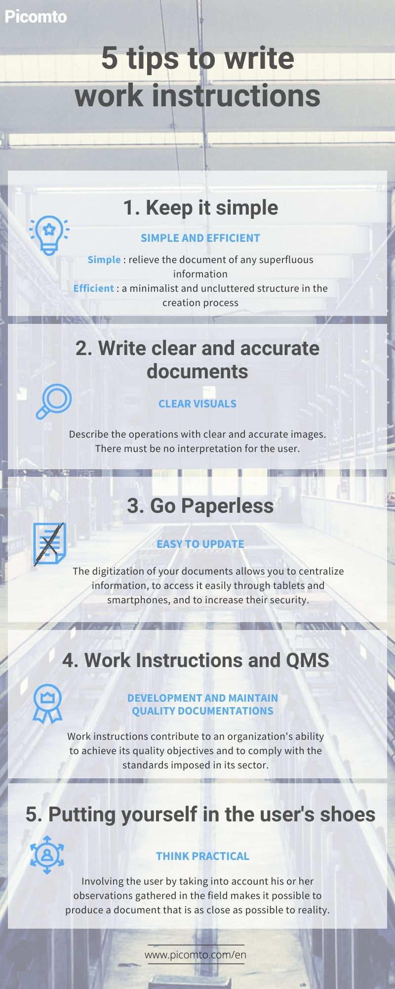 Infography : 5 tips to write work instructions